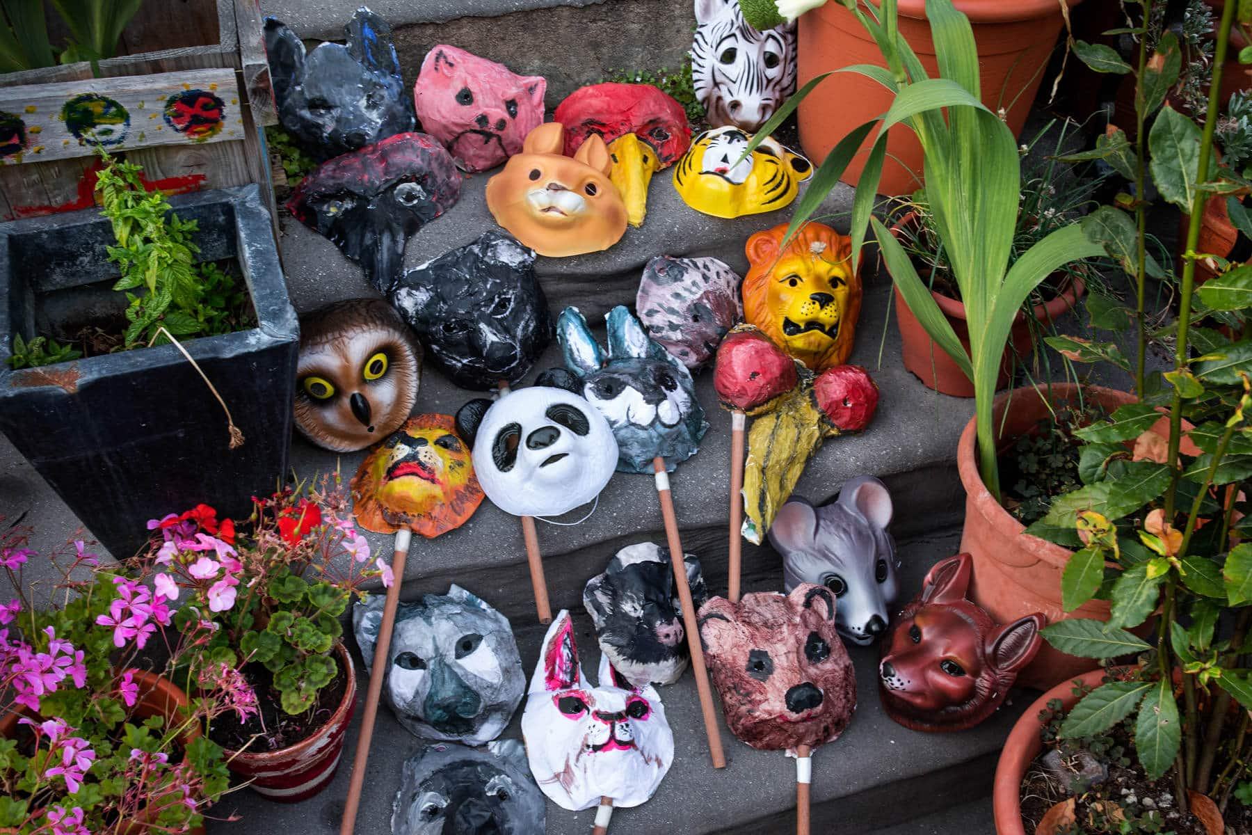 A selection of colourful animal masks for the wedding guests