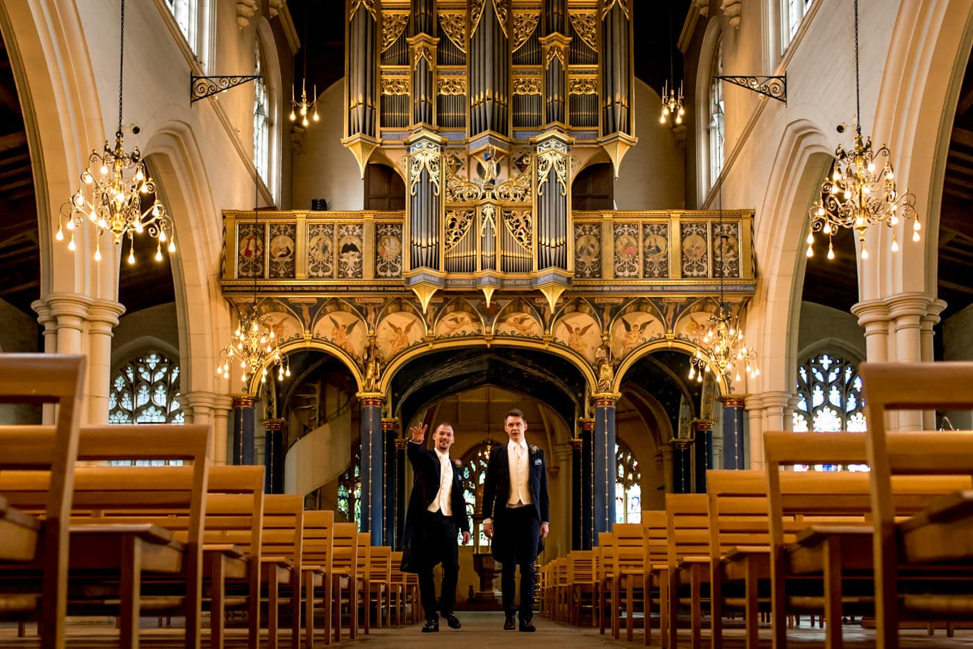 groom and best man in Carshalton church