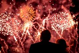 bride and groom watching the fireworks at their country wedding in Yorkshire