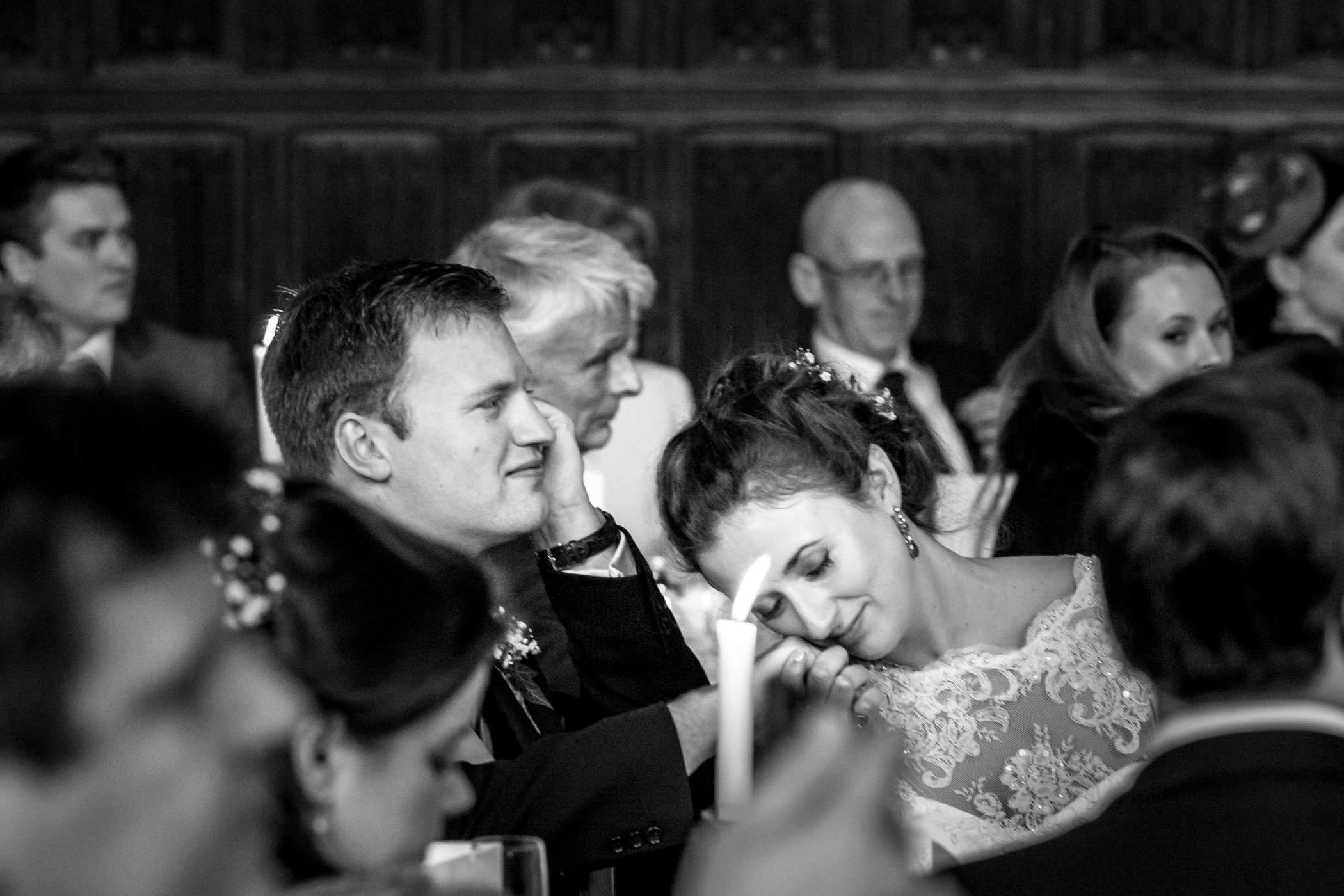 B&W photo of bride and groom sharing an intimate moment at their Cambridge wedding