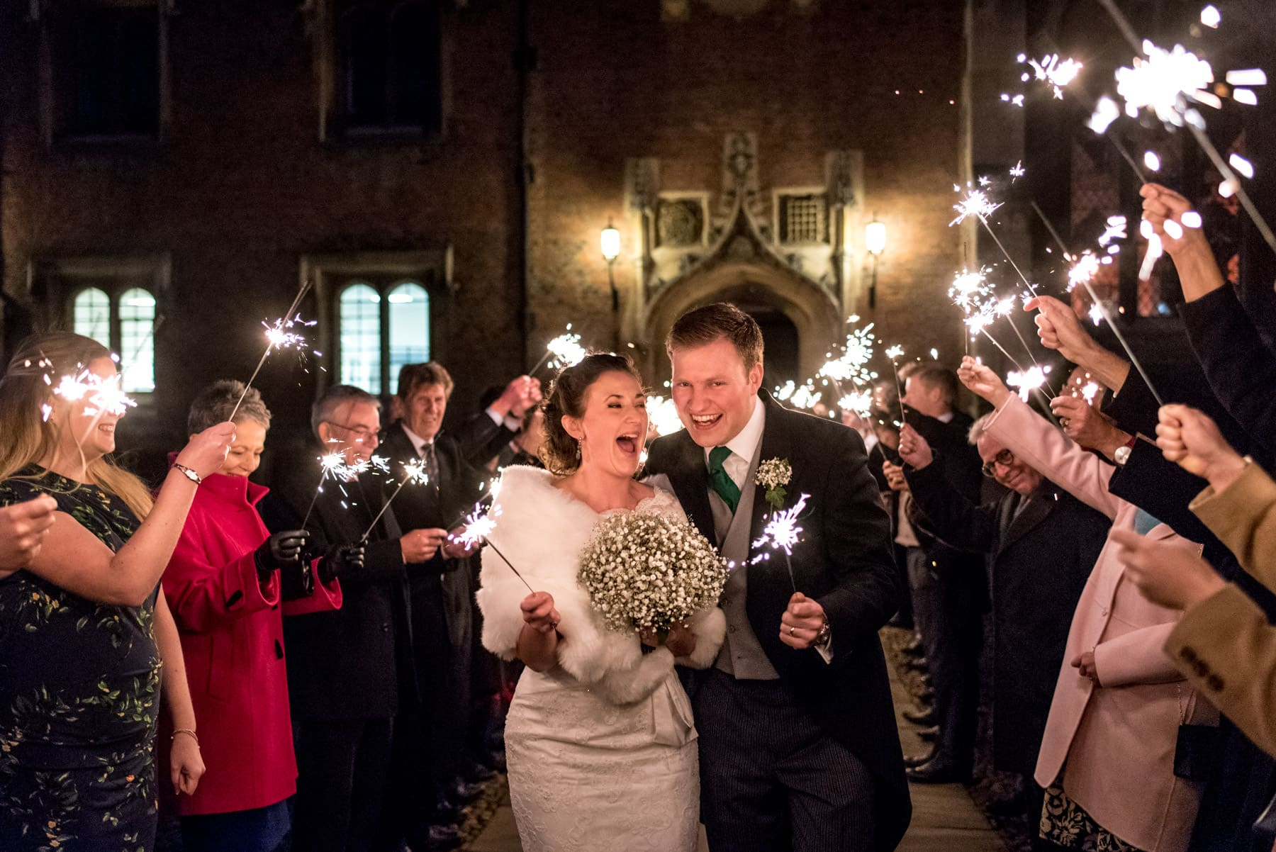 Winter sparkler exit at St Johns College Cambridge