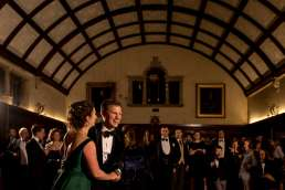Bride and groom dancing their first dance at their Cambridge Wedding