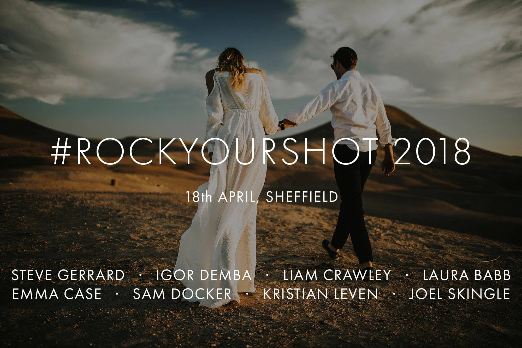 Poster of Rock Your Shot 2018 wedding photography conference with list of speakers
