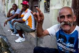 Old men sitting on the street in Havana