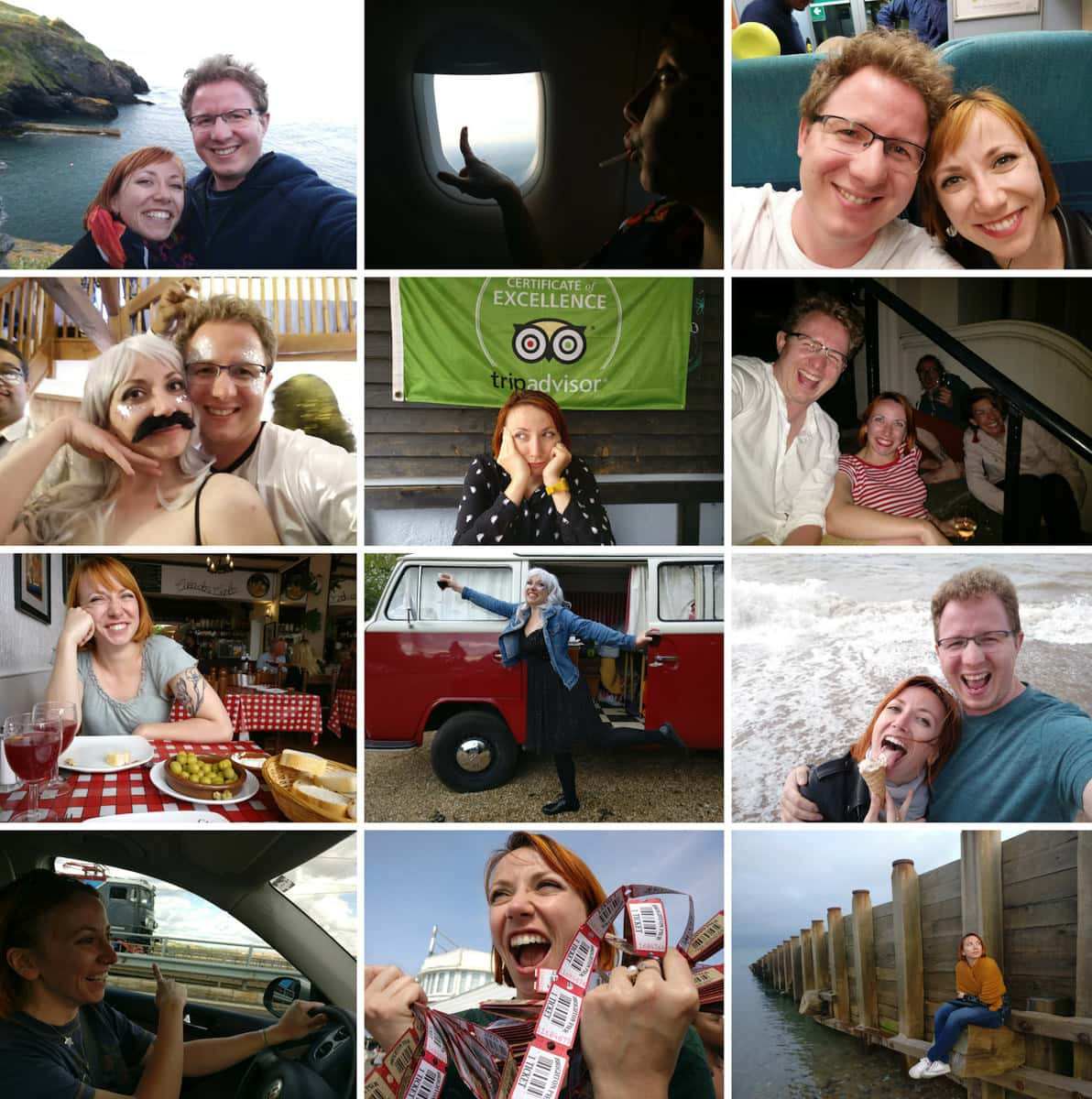 a second collage of photos of Matt and Corina's adventures around London