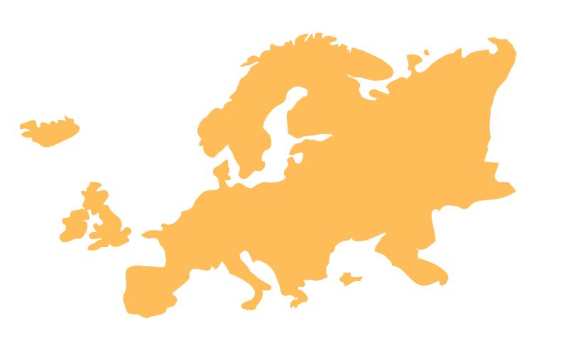 orange graphic of Europe