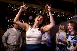 photo of wedding guests going crazy on the dance floor