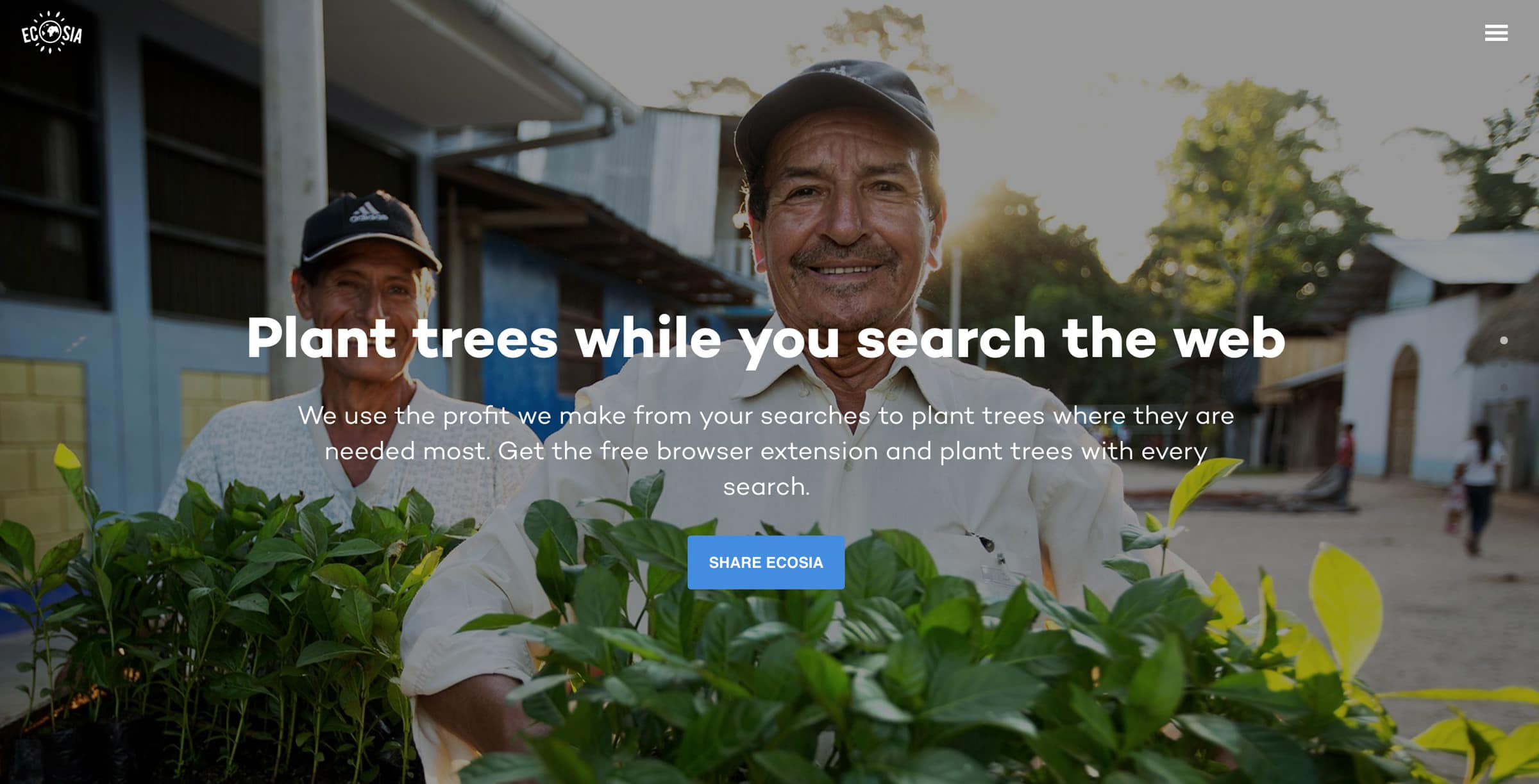 Image of the eco friendly search engine website Ecosia