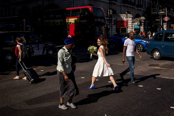 Photo of bride crossing the road in London taken by wedding Photographer Matt Badenoch