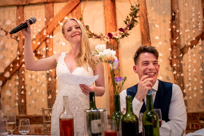 photo by London wedding photographer Matt Badenoch of bride giving a speech