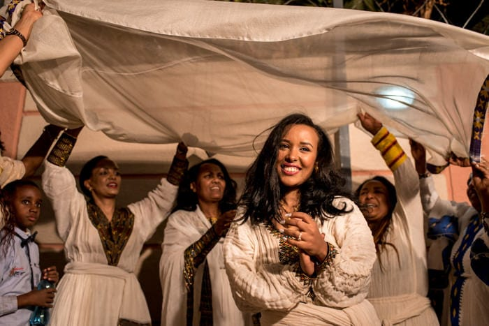 Ethiopian bride dancing with her family