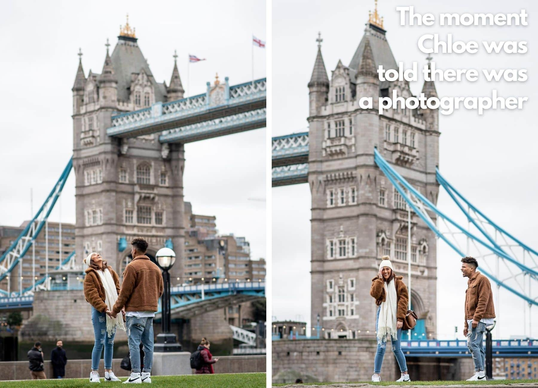 Couple being photographed in secret on their Tower Bridge Proposal Shoot
