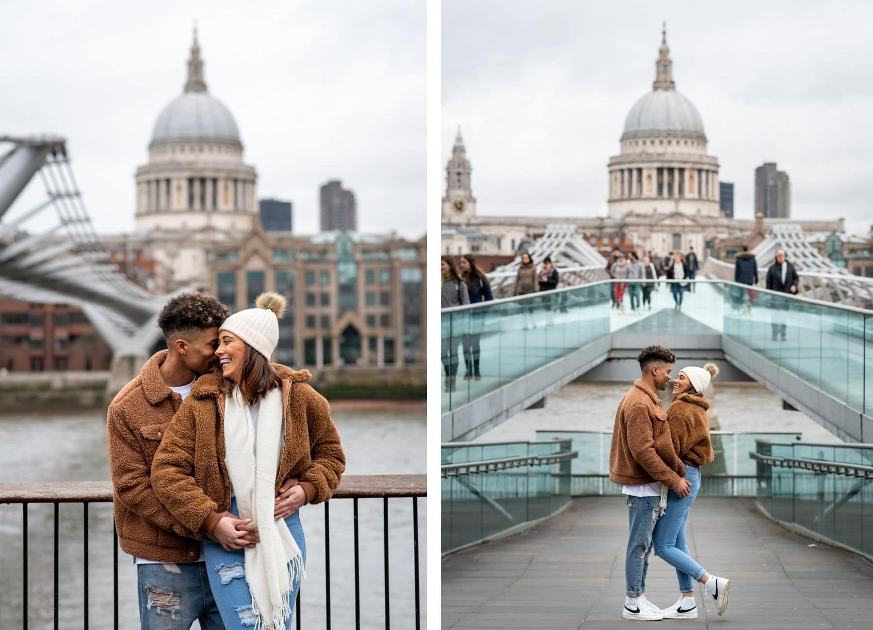 Couple hugging on the millennium bridge on their St Pauls Cathedral Engagement Shoot