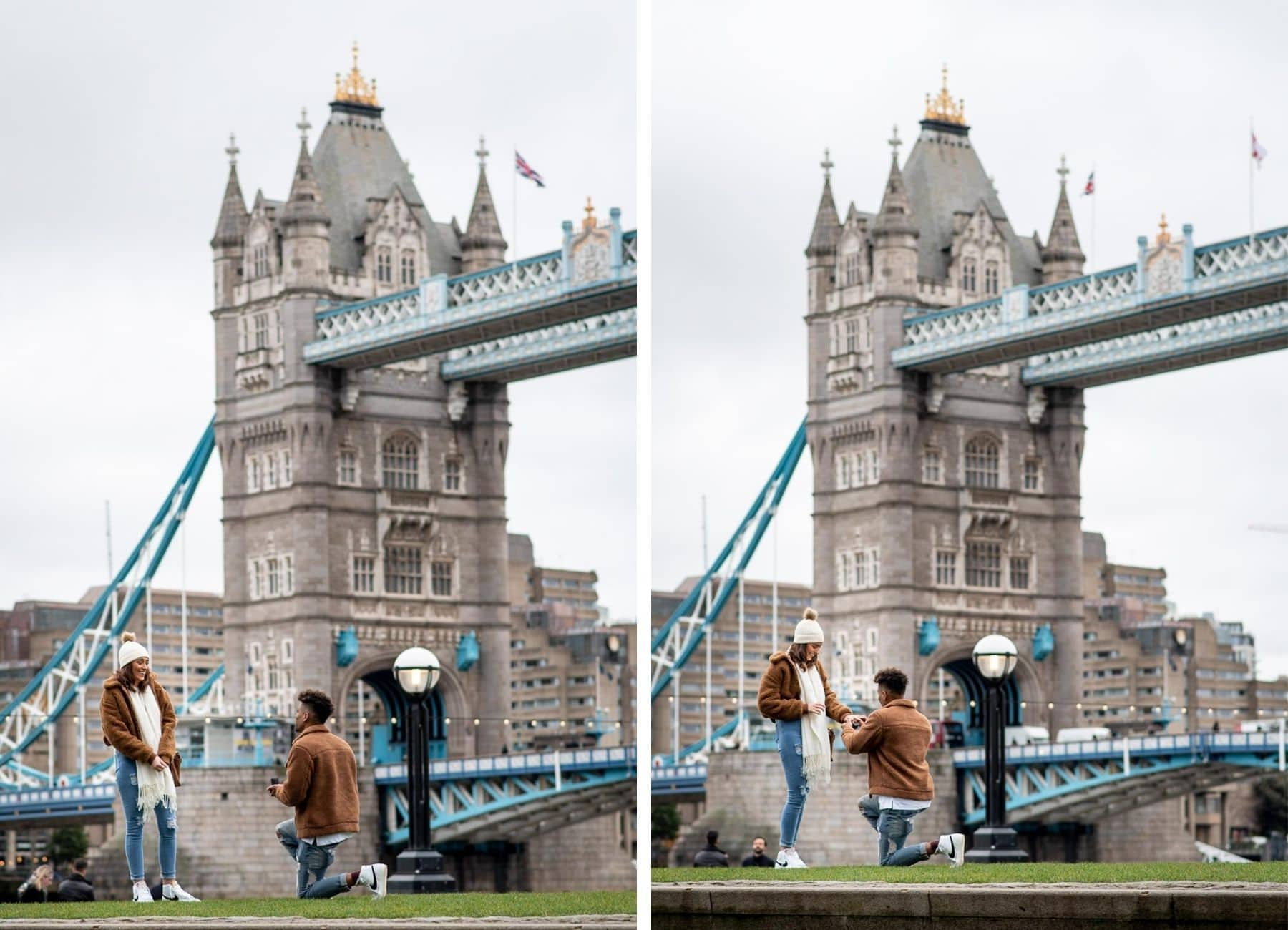 Man proposing to his girlfriend in front of Tower Bridge in London. She said yes