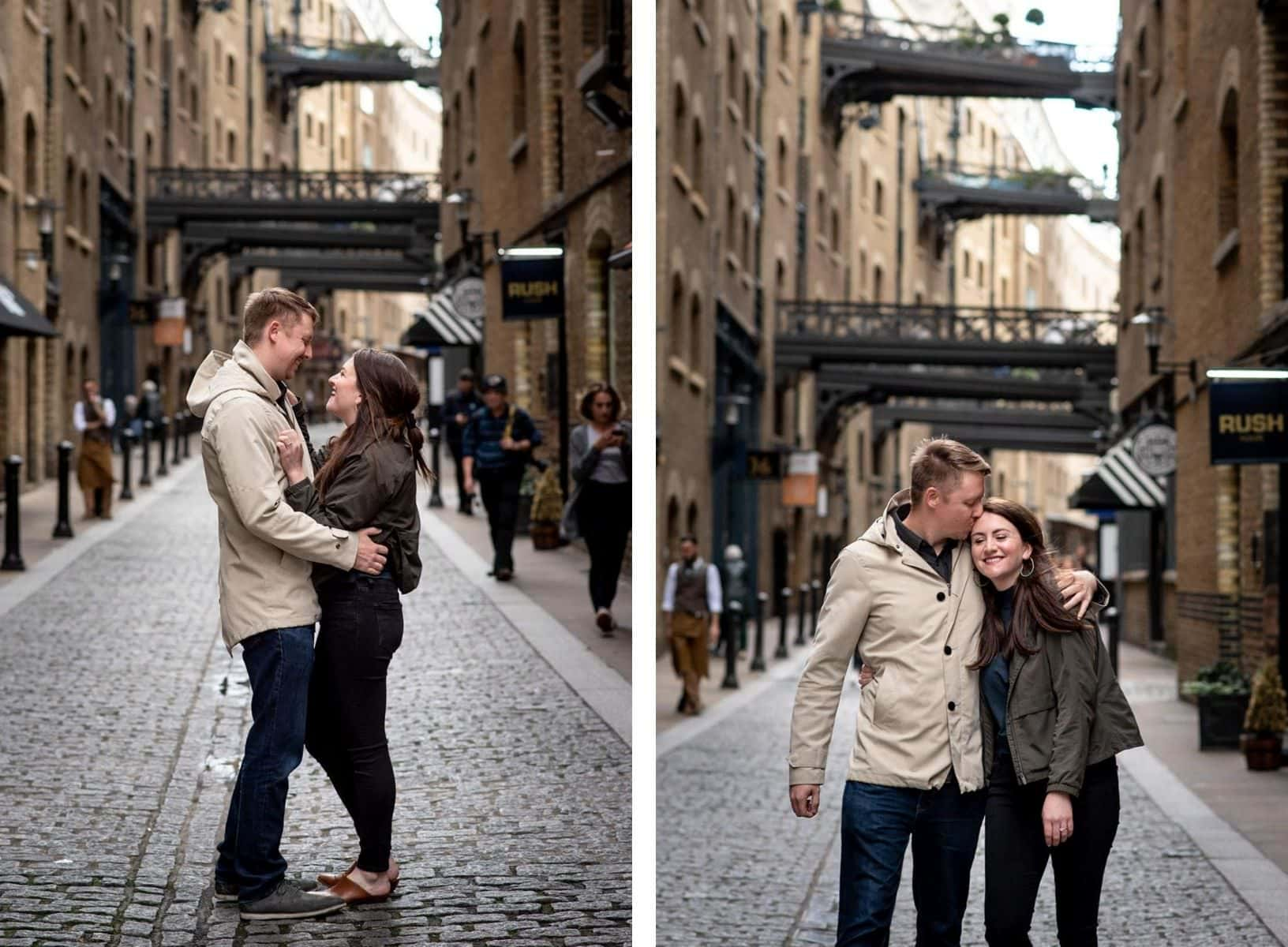 Two photos of couple walking along the Shad during their London engagement shoot