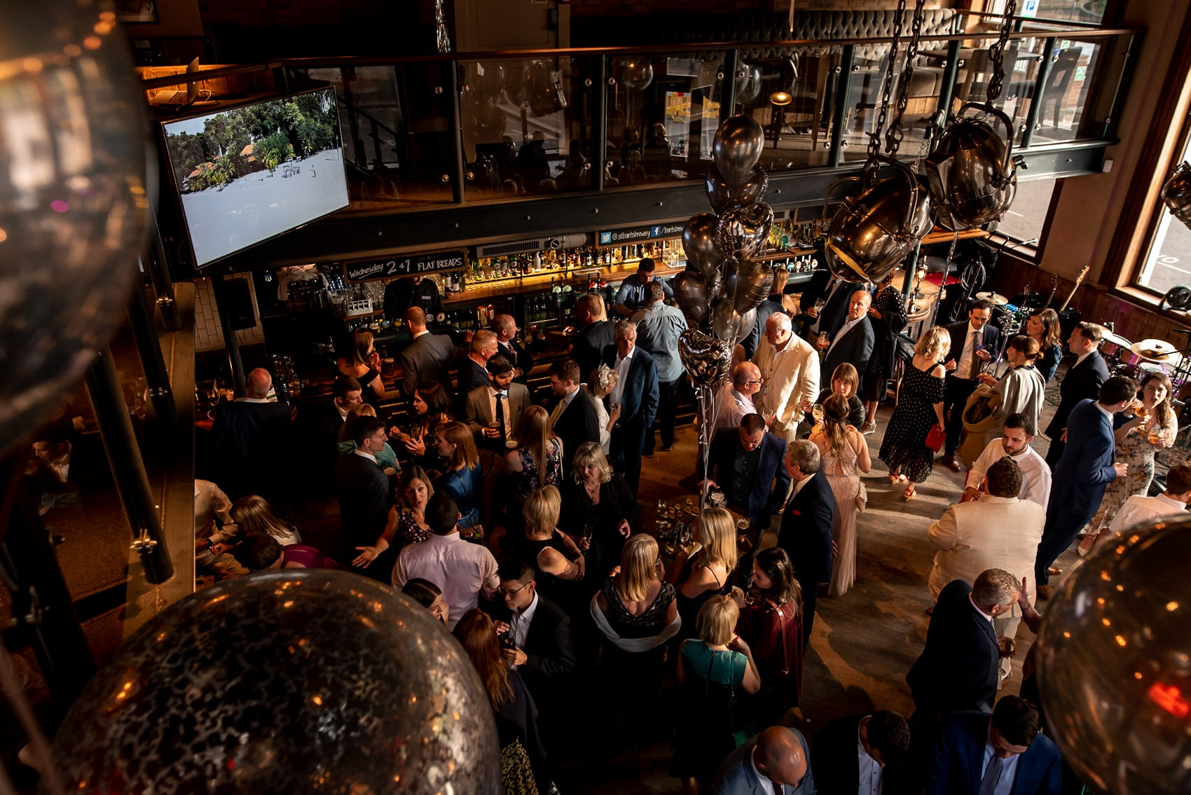 Above view of a wedding reception at St Barts Brewery in London