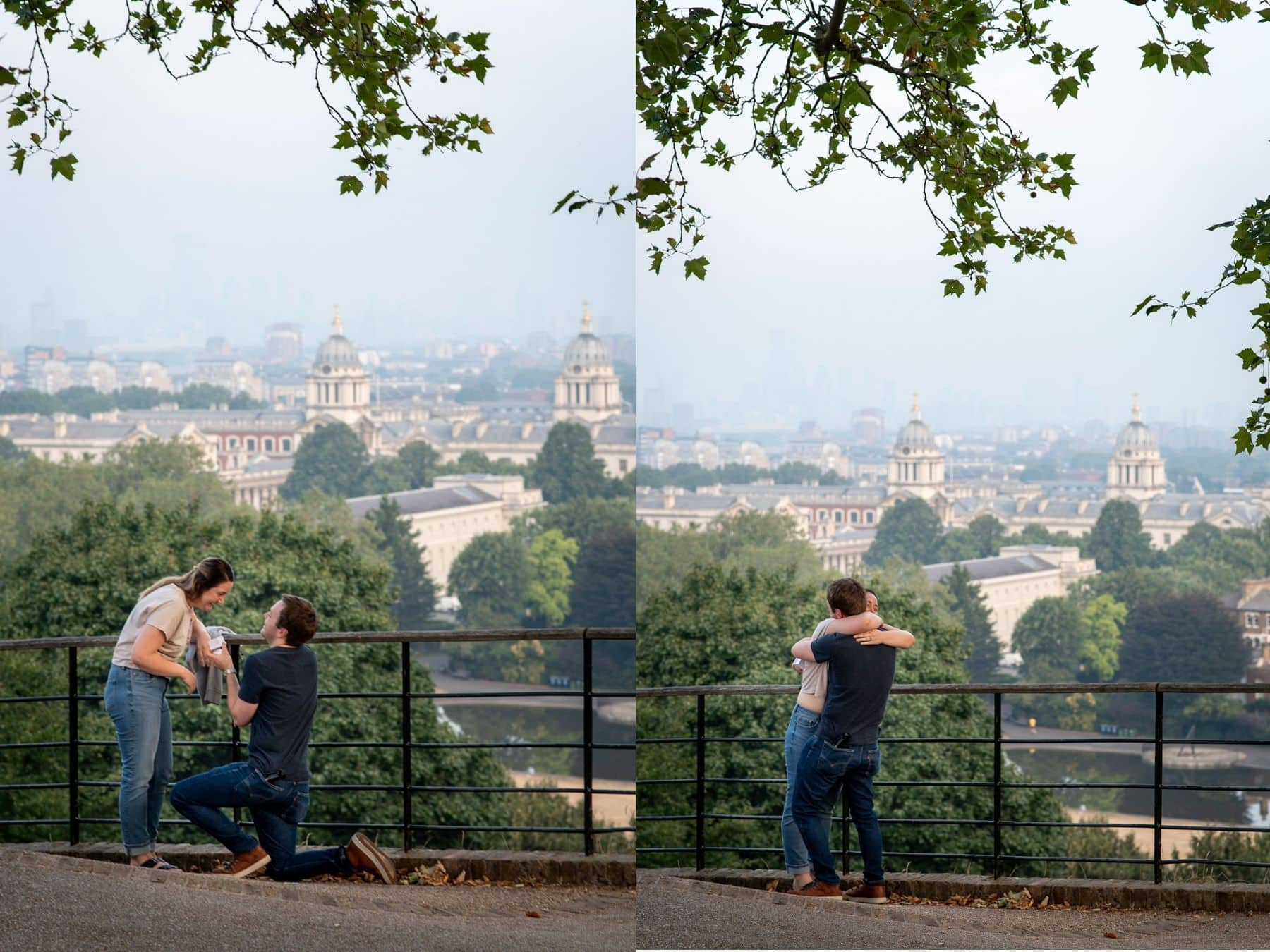 Photo of a beautiful wedding proposal in Greenwich park with views over London