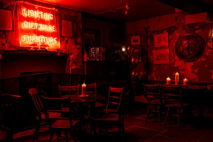 the cellar of Brunswick House wedding venue in London with red light