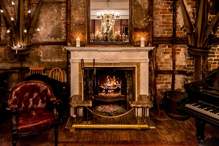 the fireplace in the saloon of Brunswick House wedding venue in London
