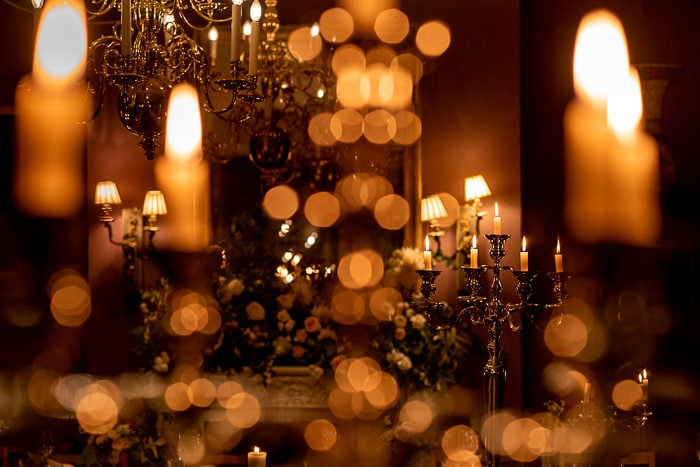 Candle decorations for wedding venue Brunswick House