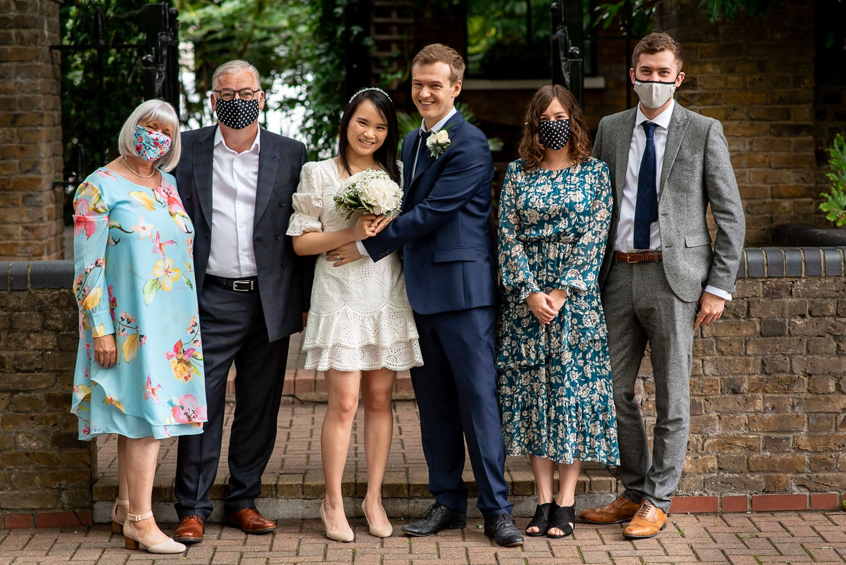 Wedding family formal photo with masks in London during the 2020 Covid19 pandemic