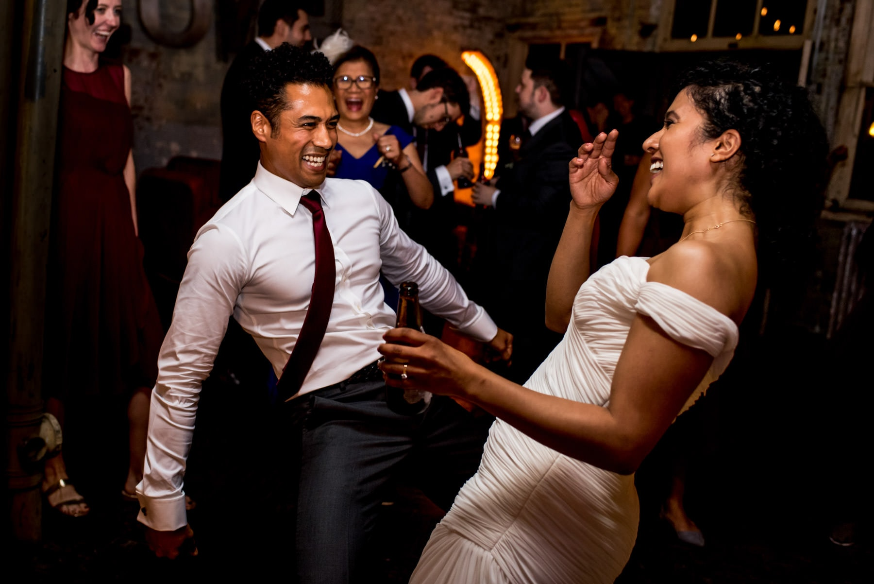 Bride and brother on the dance floor at her Brunswick House Wedding