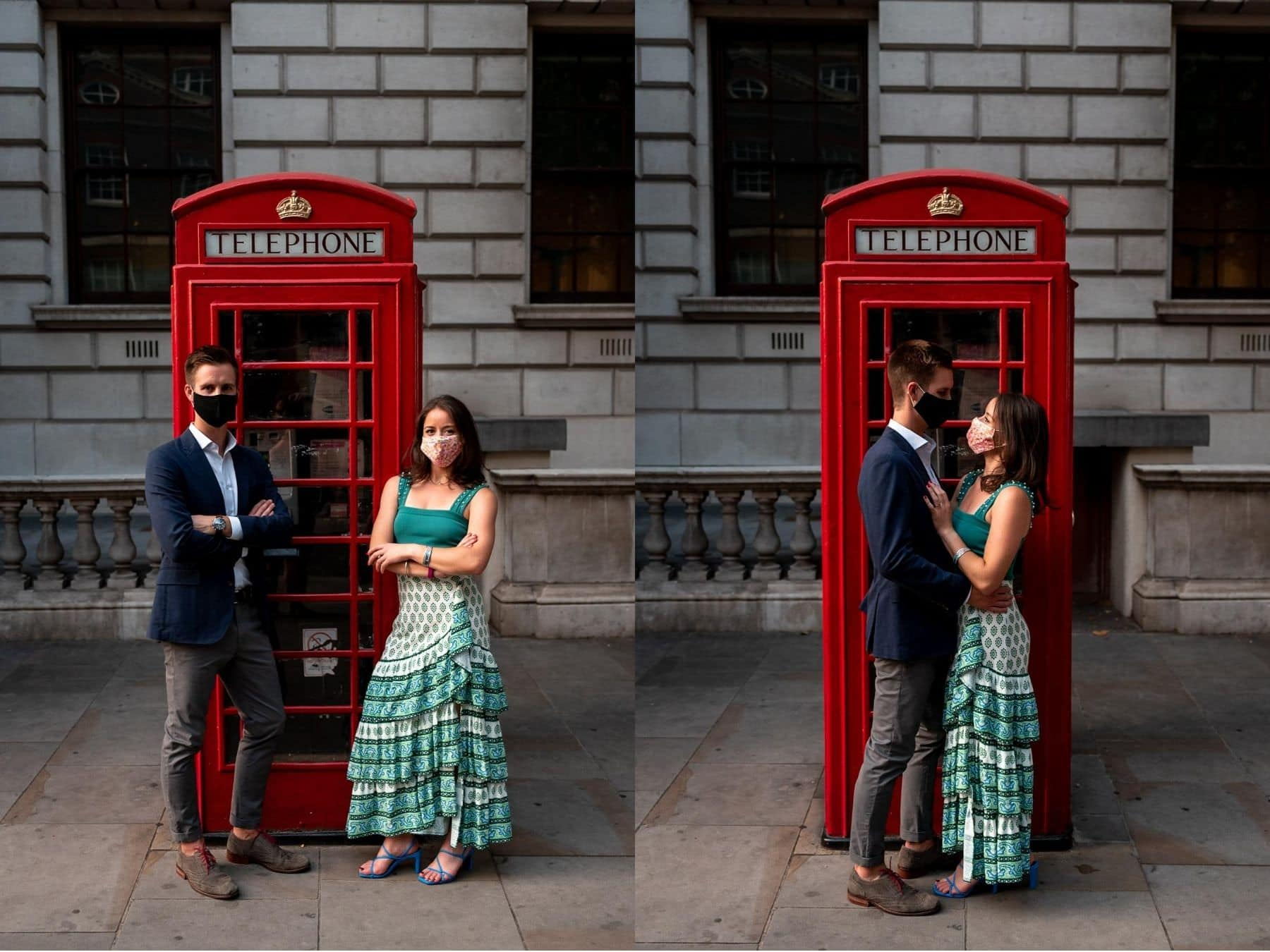 Photo of a couple wearing masks in front of a red London phone box in Westminster during the covid19 pandemic on their engagement shoot