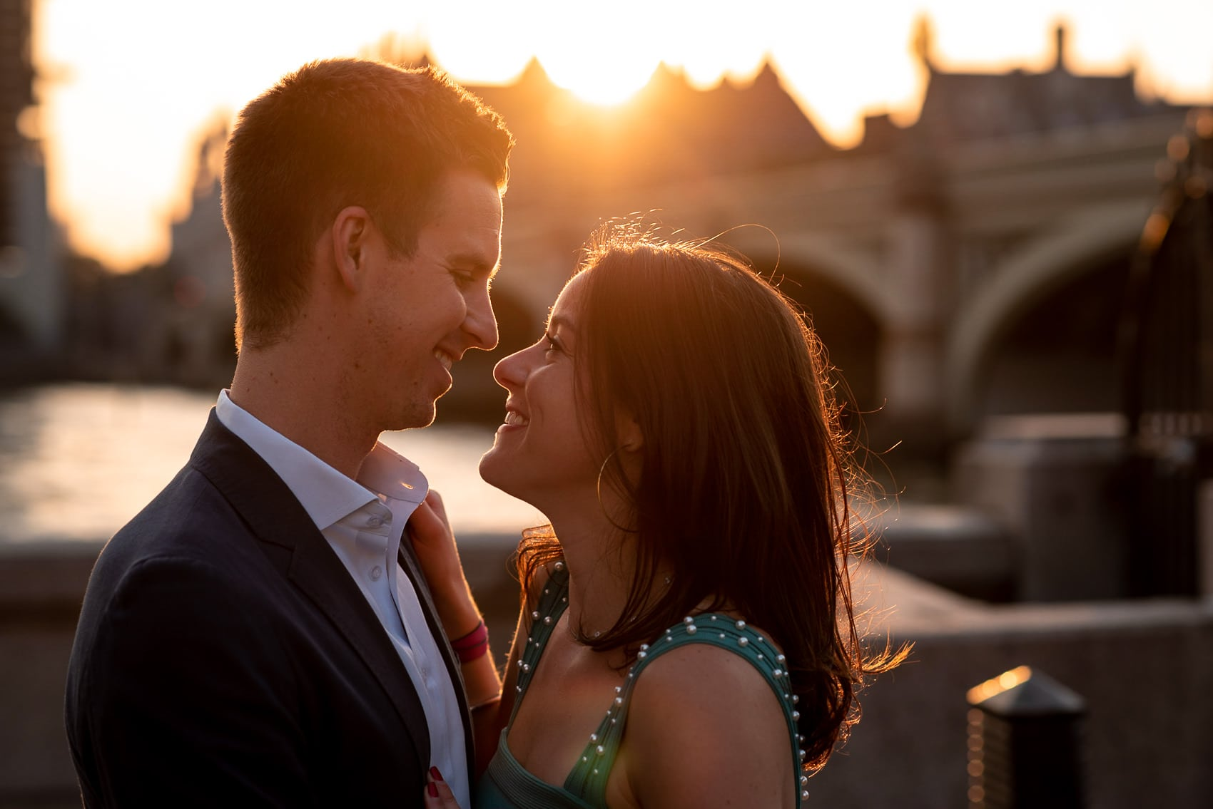 Couple in love at sunset in front of Big Ben during their Westminster engagement shoot in london