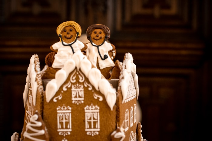 Ginger bread NHS doctors as a wedding cake topper decoration for a same sex couple