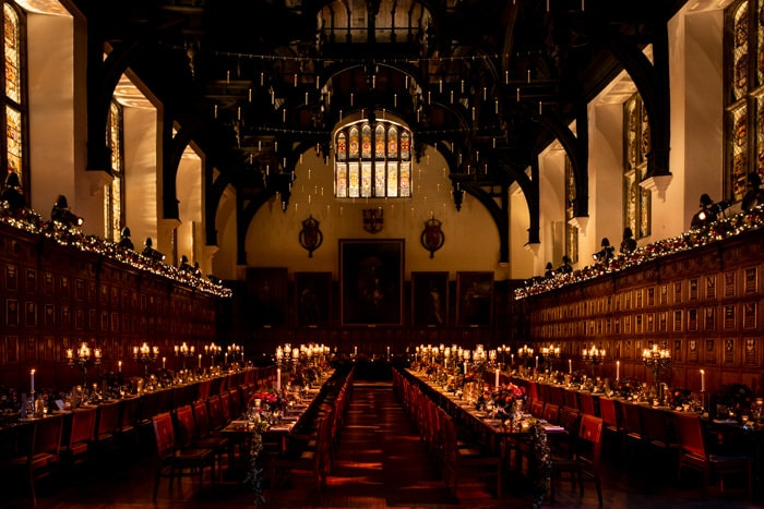 The grand hall in Middle temple decorated for a Christmas wedding