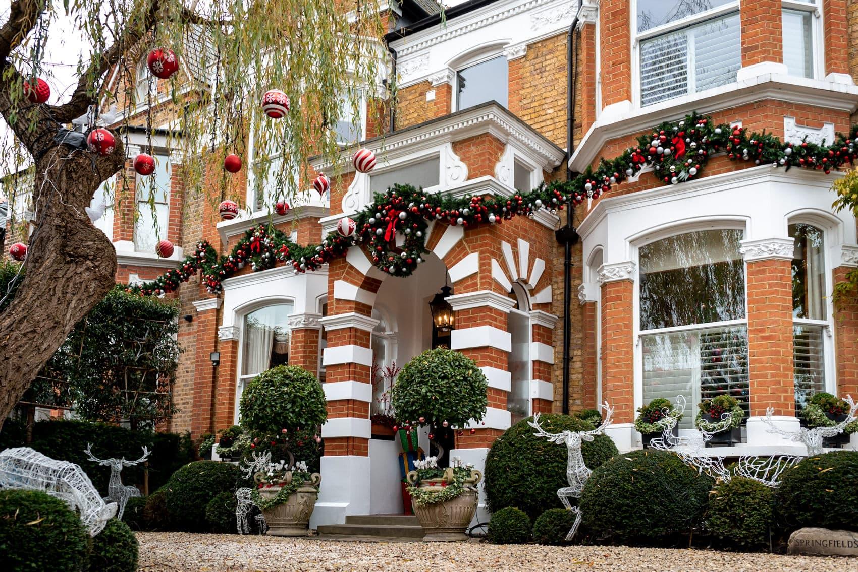 Christmas decorations outside a london house